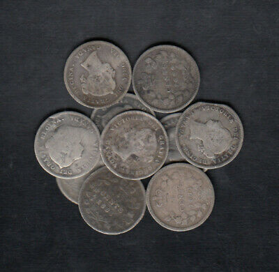 1858-190 Canada 5 Cents Silver Coins Lot Of 10