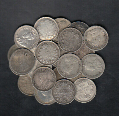 1911-20 Canada 5 Cents Silver Coins Lot Of 25
