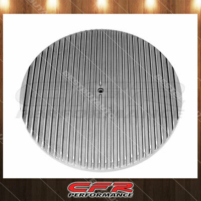 Aluminum 14 Round Air Cleaner Top Polished Partial Finned Black Fits Universal