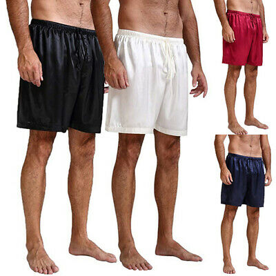 Mens Summer Silk Satin Pajamas Pyjamas Shorts Lounge Beach Shorts Boxer Free p&p