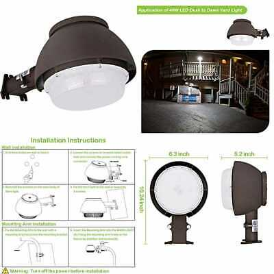 LED Barn Light 40W 4400Lm Dusk To Dawn Yard W Photocell Outdoor Security/Area 50