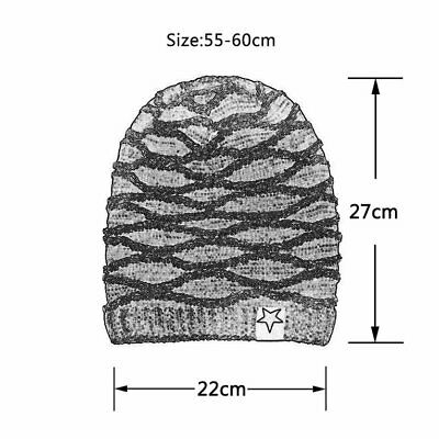 Knitted Women Plain Warm Winter Hat Thick Cap Hat Fashion Adjustable  H6