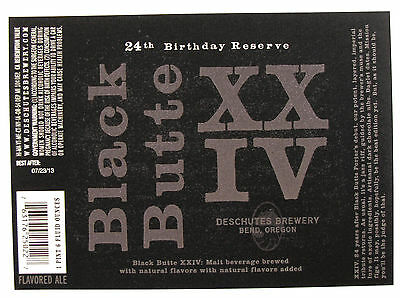 fefeb46b4 Deschutes Brewery BLACK BUTTE - 24th BIRTHDAY RESERVE beer label OR 22oz