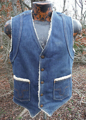 Mens Vintage BIG SMITH Snap WESTERN Outerwear Denim Vest sz S - Sherpa Lined