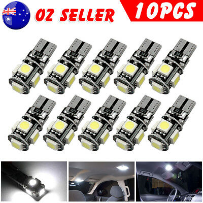 10PCS WHITE CANBUS T10 Wedge 5SMD Parker Plate LED Bulbs W5W 194 168 131 Light