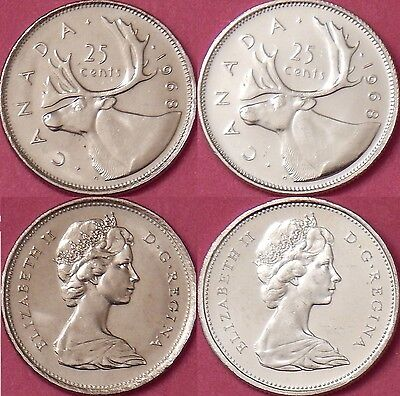 Brilliant Uncirculated 1968 Canada Nickel & Silver 25 Cents From Mint's Rolls