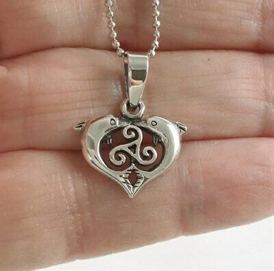 Small Celtic Dolphin Heart - 925 Sterling Silver Pendant - Ball Chain Necklace
