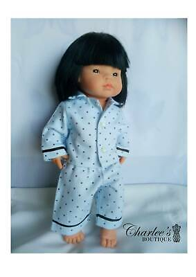 38cm Miniland doll blue flannelette pyjamas (MADE IN PERTH)