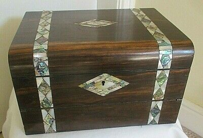 Large Antique Wooden Work Box With Built In Writing Slope