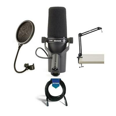 Shure SM7B Cardioid Dynamic Studio Vocal Microphone With Accessoruy Bundle