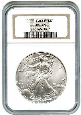2000 Silver Eagle $1 NGC MS69 - American Eagle Silver Dollar ASE