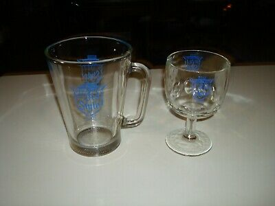 Authentic Heileman's Old Style Beer GLASS PITCHER + Footed Goblet Glass L@@K WOW
