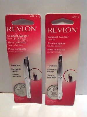 Lot of 2 Revlon Compact Tweezer Slant Tip 32510
