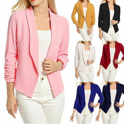New Long Short Sleeve Slim Womens Ladies Blazer Jacket Formal Suit 0IF Cardigan
