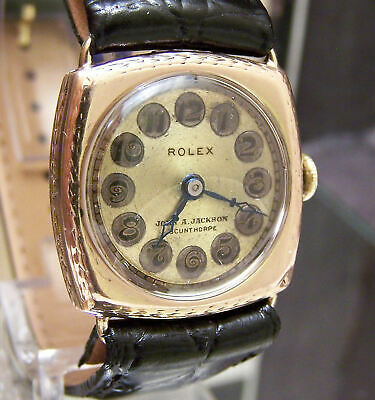Antique Rolex 1924 Solid Gold Telephone Dial Rare Small Mans Watch Extra Prima