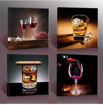 """Home Decor Canvas Wall Art 4 Panels Canvas Prints Wine Pictures """" Wine & Whisky"""""""