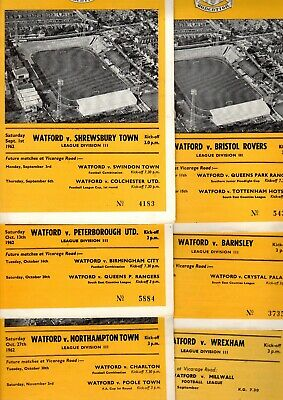 Watford FC Home programmes 1961 - 1963  multiple postage discount