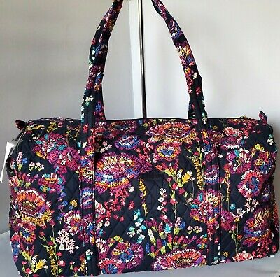 VERA BRADLEY Midnight Wildflowers LARGE Duffel WEEKENDER foldable travel bag