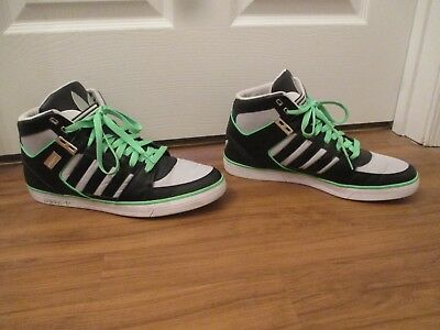 new concept edd06 3cd07 Used Worn Size 13 Adidas Hardcourt Hi 2 Shoes Black Gray Lime White Silver