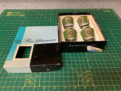 Vintage Federal Glassware Rumpus Set 1950 SUNBURST Shot Glass Original Box