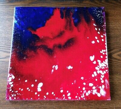 "Abstract Painting ""Red vs Blue"" 10x10 Acrylic Paint Pour using a ""Dirty Cup"""