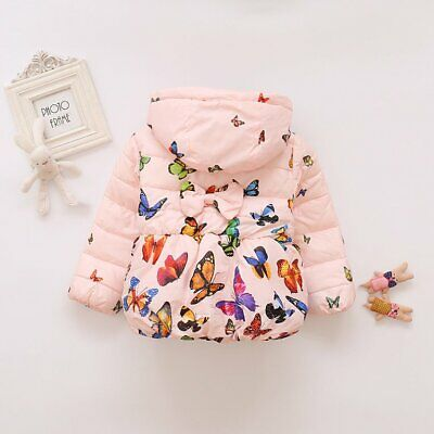 Winter Baby Girls Long-sleeved Coat with Lovely Pattern Soft Keep BI