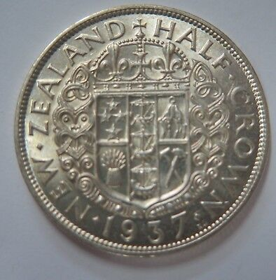 New Zealand 1937 George VI Silver Half Crown