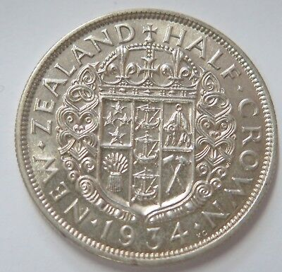 New Zealand 1934 George V Silver Half Crown