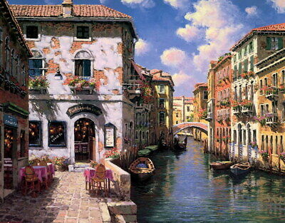 Wall art decor Venice Canal, Italy Oil painting Giclee Printed on Canvas P1281
