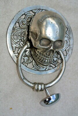 SKULL head ring pull Handle knocker BRASS silver plate 4.1/2' day of the dead B