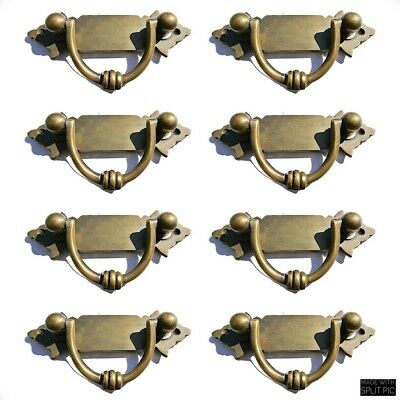 8 strong small old look BOX drawer pull handles  brass vintage age style 11 cm B