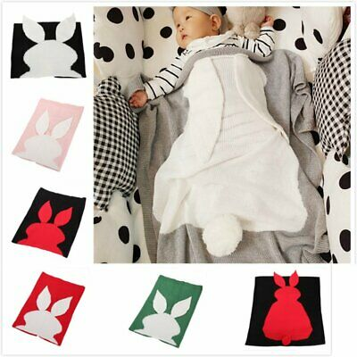 Lz191 Children Nap Blanket Baby Knit Blanket Rabbit Air Wool Bl FM