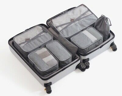 7 Pcs Double-layered Packing Cubes Travel Organisers Bags with Safety Buckles
