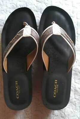 3ce263eff545 Womens Size 8.5 Coach Sandals Judy Signature Sig C Black Brown Chalk Gold  Emblem
