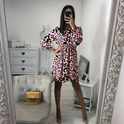 Women Fashion Leopard Dot Print Pleated Neck Sexy Long Sleeve Short Dress CB