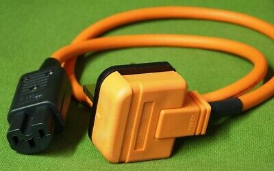 Ecosse Big Orange Ultra3 Mains Cable 1.2m UK High Current To Figure 8