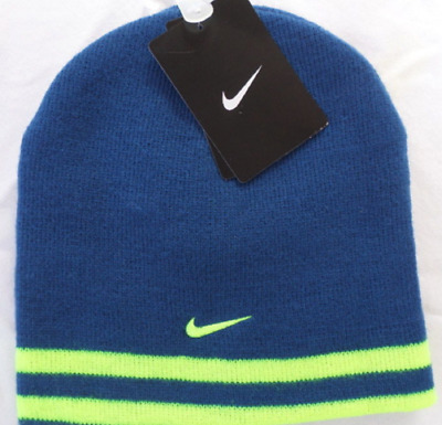 771aa3d6f93 Youth Boys Size 8 20 Nike Stretch Knit Winter Beanie Reversible Hat Blue  Volt