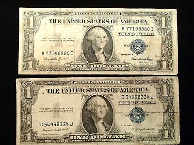 1935-E And 1935-G One Dollar Silver Certificates Well Circulated Folds, Wrinkles