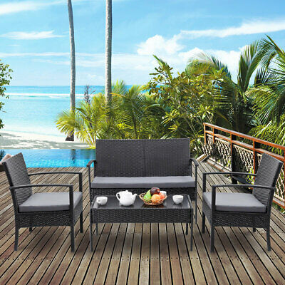Wrought Studio Manford 4 Piece Rattan Sofa Seating Group with Cushion