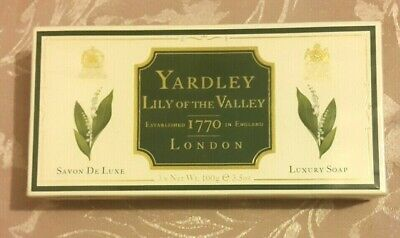 YARDLEY, BOX OF 3 x 100g, LILY OF THE VALLEY, LUXURY SOAP, SEALED