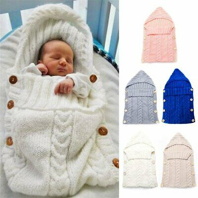 Newborn Baby Infant Sleeping Bag Acrylic Fibers Hoodies Swaddle Wrap Swea PE