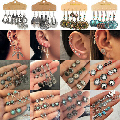 12Pairs Retro Women Ear Clip Boho Hoop Bohemia Earrings Set Cuff Stud Crystal