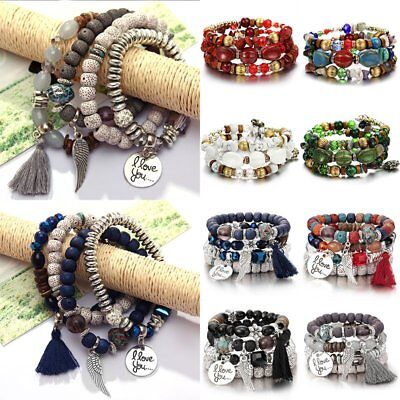 Multilayer Boho Tassel Natural Stone Beads Pendant Bracelet Set Bohemia Women