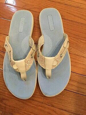 b78345f37e Women s SPERRY TOP-SIDER White Leather Boat Shoe Thong Sandals Flip Flops  ...