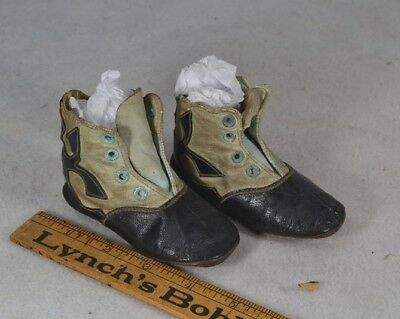 baby doll shoes high lace black white fancy leather Civil War Era 19th antique