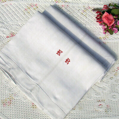 ANTIQUE FRENCH LINEN DOWRY SHEET Early, Embroidered Red Monogram ER Drap en Lin