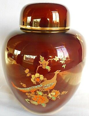 Carlton  Ware Ginger Jar Decorated With Beautiful Pheasants ~ Lovely Display !