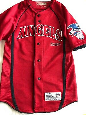 Youth S 6-7 Majestic MLB Los Angeles Anaheim Angels Baseball Jersey Small  Red 8e3cfac17