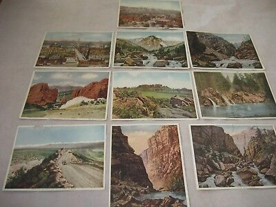 Vtg. Old Color Lithographs Prints 1920s Colorado Set Lot 10 Buildings Landscapes