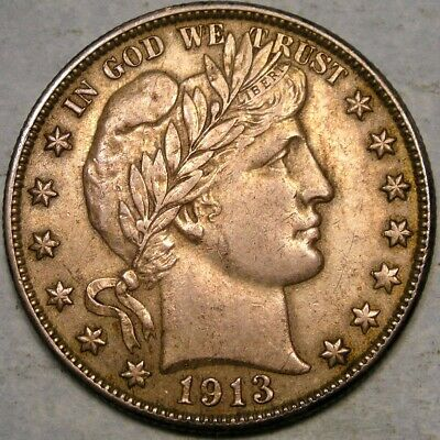 1913 S Barber Silver Half Dollar Very Appealing Golden Toned Scarce Tougher Date